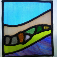 Tiny sea glass rock pool, stained glass panel