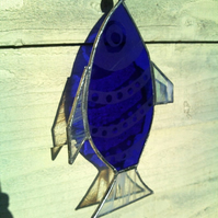 Etched blue and white Stained Glass Fish Window Decoration