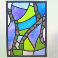 Sea Glass Rock Pool, Stained Glass Panel