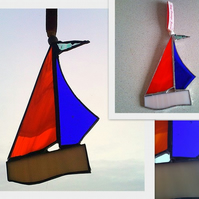 Recycled Stained Glass Sail Boat Suncatcher