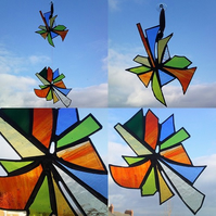 PinWheel Stained Glass Window Hanging