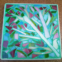 Blossom Tree Stained Glass Mosaic Trivet