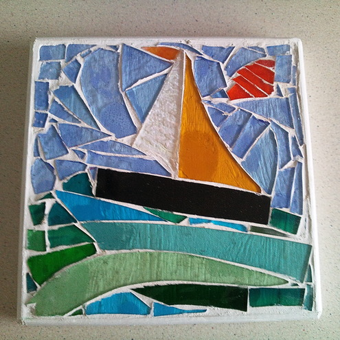 Sailing on a Stained Glass Sea Mosaic Trivet
