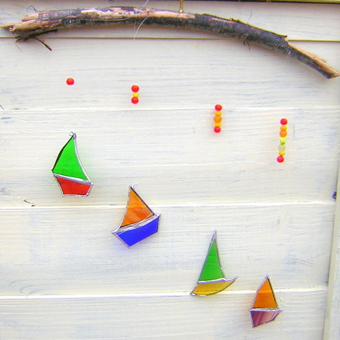 Stained glass and driftwood boat mobile folksy for How to make stained glass in driftwood