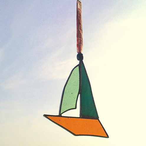 Turquoise, Yellow and Orange Stained Glass Boat Suncatcher