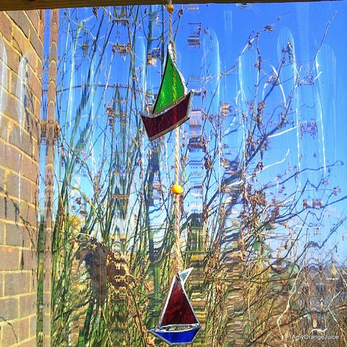 Stained Glass and drift wood boat danglie