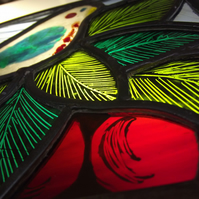 Contemporary Stained and Fused Glass Panel, Bird in a Cherry Tree