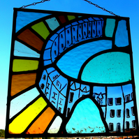 Bath, Contemporary Stained Glass Panel