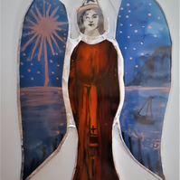 Contemporary Stained Glass - Guardian Angel of Twighlight and Ocean