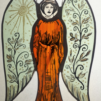 Contemporary Stained Glass - Gardian Angel of the Garden
