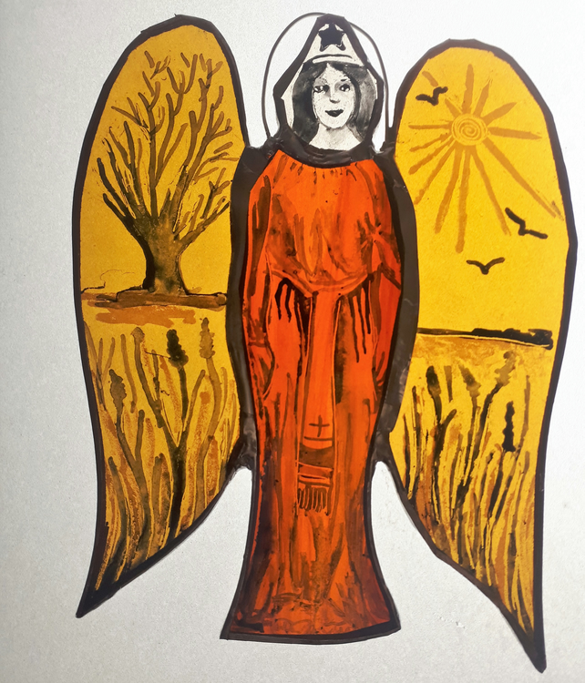 Contemporary Stained Glass - Guardian Angel of Land and Sea