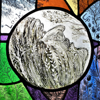 Contemporary Stained Glass Panel - Look Up