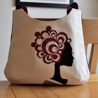 Linen applique handbag