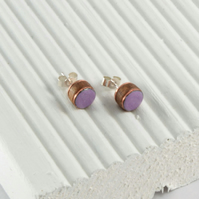 Violet purple enamel and wood stud earring