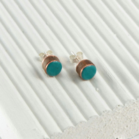 Turquoise enamel and wood stud earring