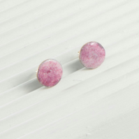 Rose pink enamel circle stud earring