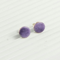 Violet purple enamel circle stud earring
