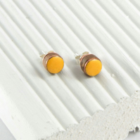 Marigold yellow enamel and wood stud earring