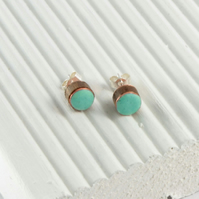 Duck Egg blue enamel and wood stud earring