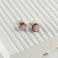 Rose pink enamel and wood stud earring