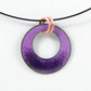 Violet purple enamel pendant on wire choker style necklace