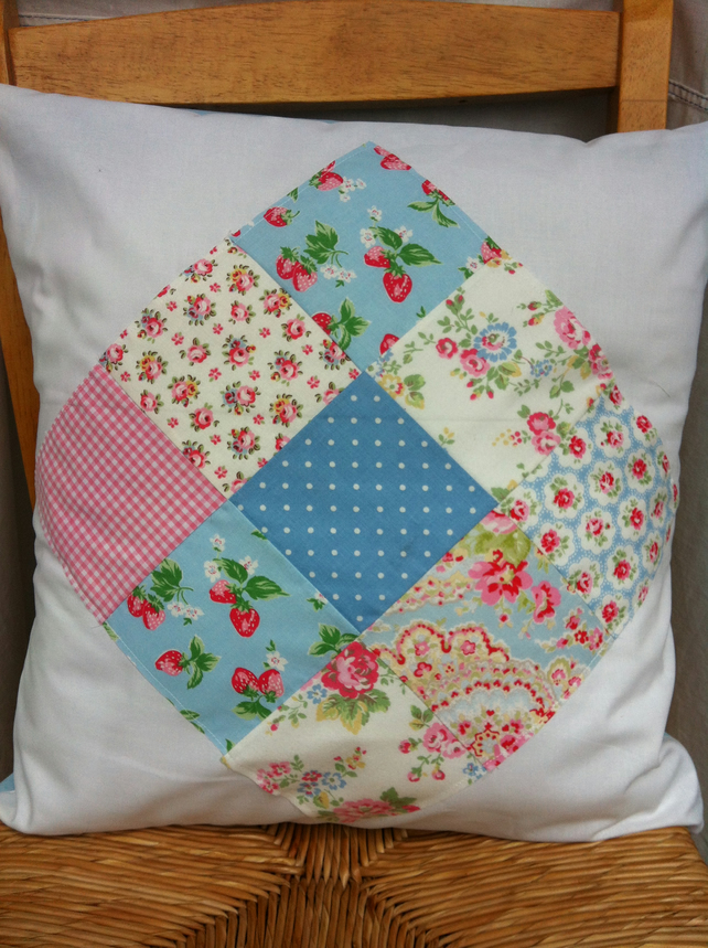 cath kidston style patchwork blue cushion folksy. Black Bedroom Furniture Sets. Home Design Ideas