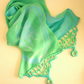 'Peppermint' Silk Scarf batik design in Green  Georgette