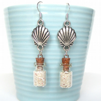 Shell earrings and tiny bottles of sand - Beach earrings - Cockle shell earrings