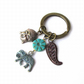 Elephant keyring with paisly and buddha head charms - Charm keyring - Thailand