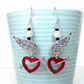 Rockabilly earrings with angel wing and red hearts - Retro jewellery - Pin up