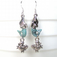 Cute mermaid and tiny crab earrings - Beach jewellery - Mermaid earrings