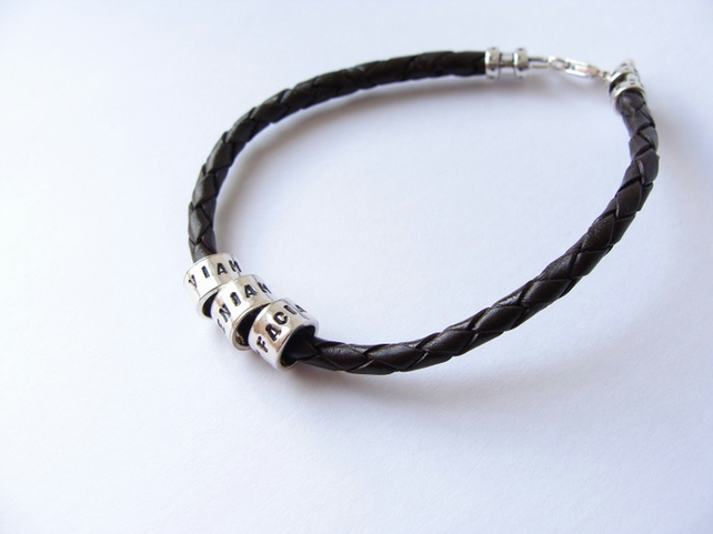 Personalised Mens Braided Leather Charm Bracelet