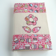 flower in cupcake fabric bookcover