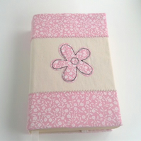 Pink flower fabric bookcover