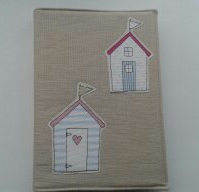 Appliqued beach hut A5 diary,notebook cover