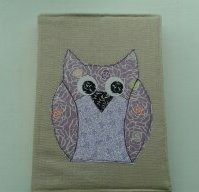 Appliqued owl A5 diary,notebook cover
