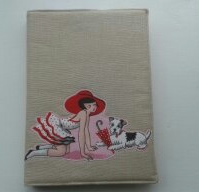 Appliqued lady in spotty dress with puppy A5 diary,notebook cover