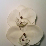 White Silk Orchid Hair Comb