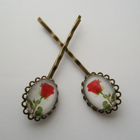 'Red Rose' Stunning floral bobby pins, hair grips, slides. Flower power!