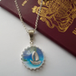 'Tropical Island Paradise' Holiday necklace with sail boat under a glass dome