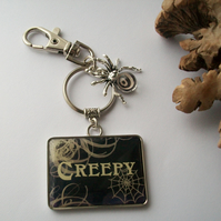 'Arachnophobia' Gothic style keyring or bag charm with spider and web design