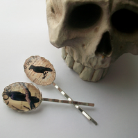 'Raven Mad' Gothic bobby pins with raven birds. Hair slides, grips. Pagan