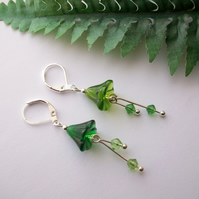 'Enchanted Woodland ' Mismatched green glass flower earrings