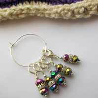 Rainbow sparkle - Set of five, four stitch markers and progress keeper. Knitting