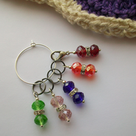 Sparkle! - Set of five, four stitch markers and progress keeper. Knitting