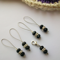 Black Ice - Set of five, four stitch markers and progress keeper. Knitting