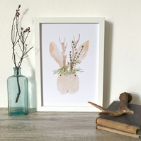 MR JACKALOPE - floral animal antler print