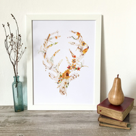 MR STAG - floral deer print on white