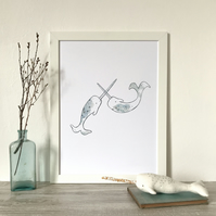 NARWHAL FUN - whale sea creature print