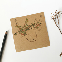 HIGHLAND COW - floral animal head postcard.